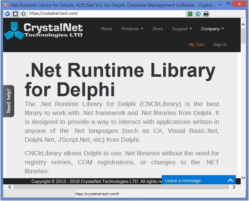 Net Control Suite for Delphi - CrystalNet Technologies LTD